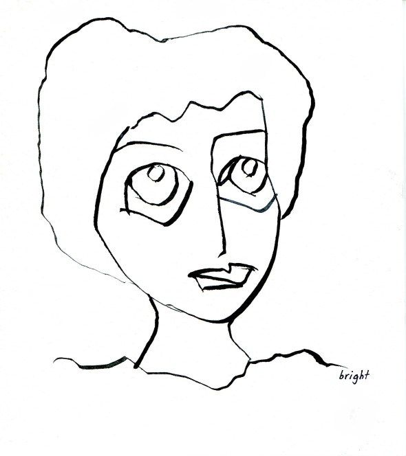 digital hand drawn woman line drawing janet bright art lost in translation communication left hand drawing