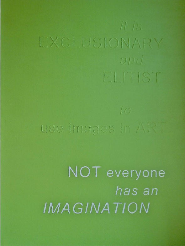 exclusionary elitist text in art imagery communication clarity