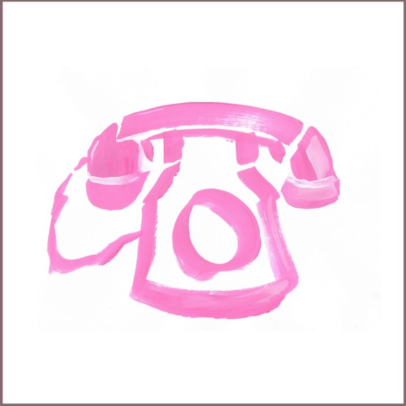 pink phone janet bright expression painting