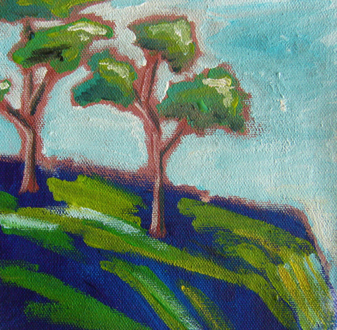 art painting janet bright acrylics trees at the edge