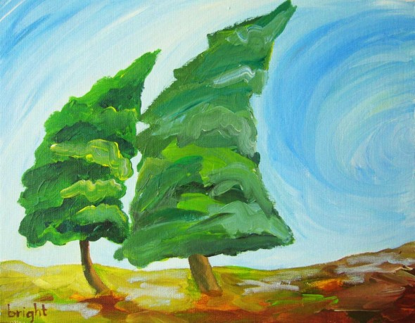 bending trees acrylic on canvas board janet bright wind