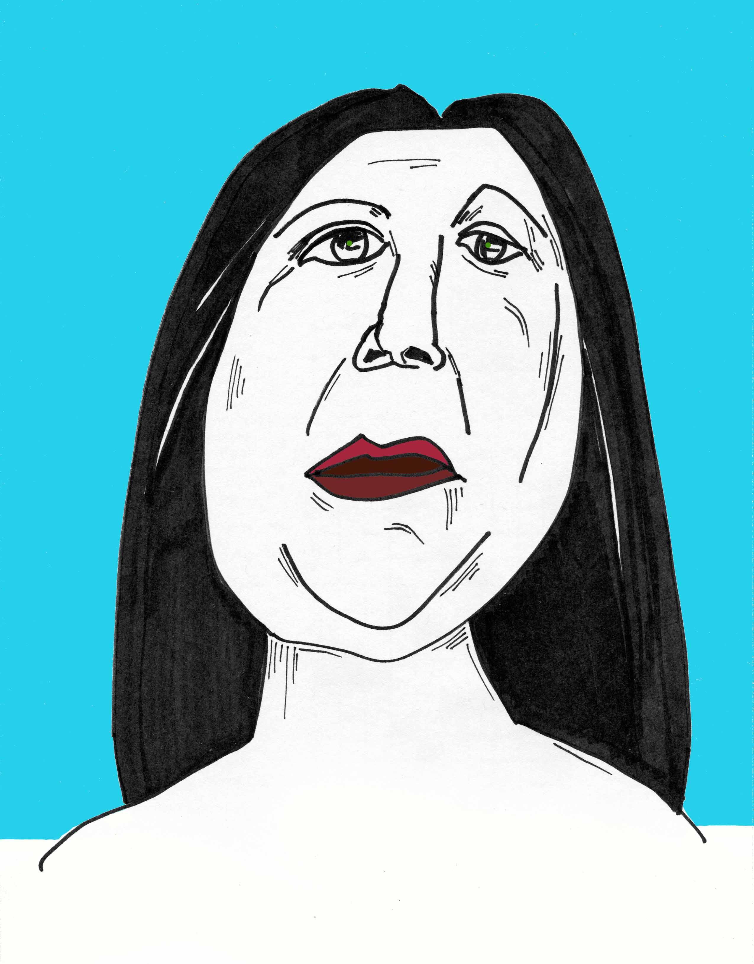 woman from below / ink & digital