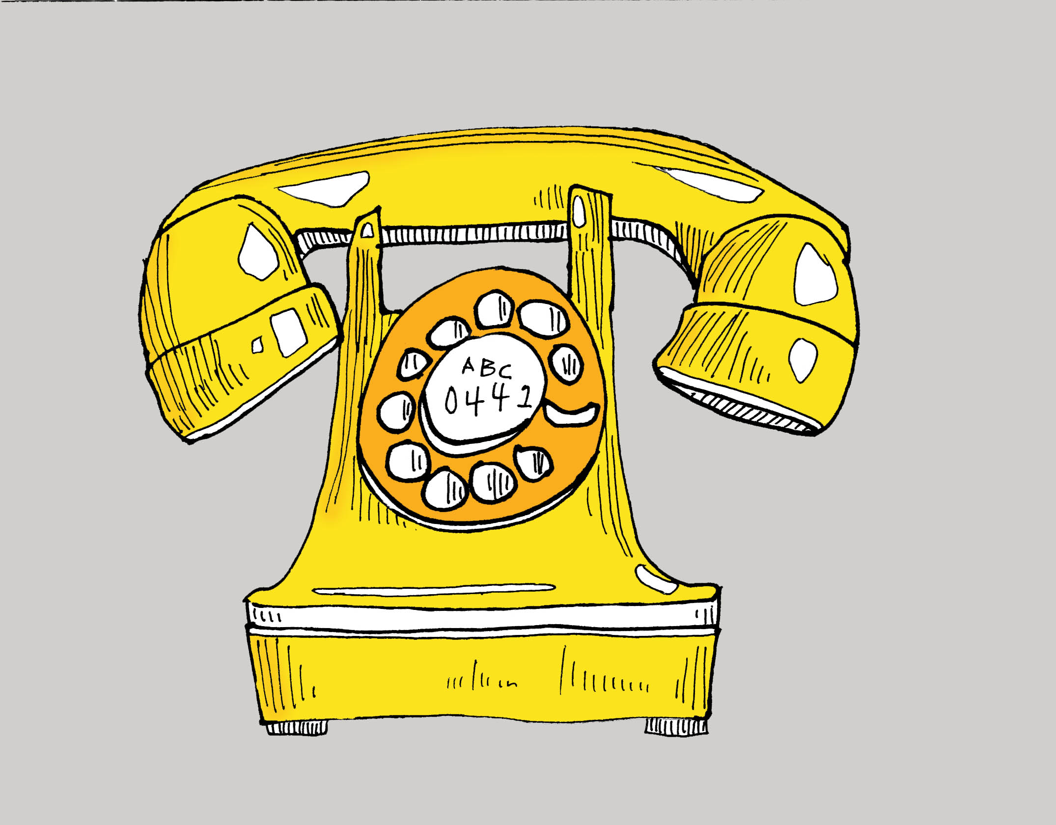art every day drawing telephone 1937 yellow digital colour fill