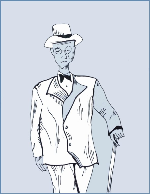 art every day number 37 drawing man with cane 1940s