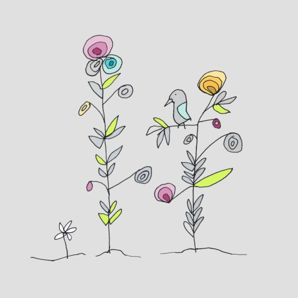 art every day number 96 summer forest drawing illustration birds flowers