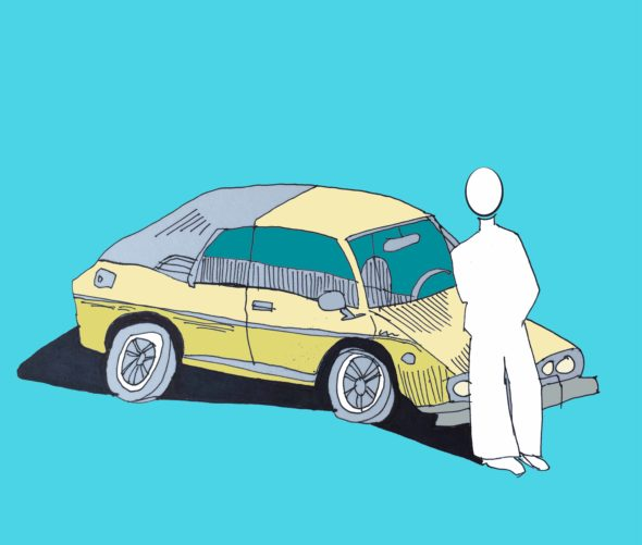 art every day number 107 illustration drawing yellow car