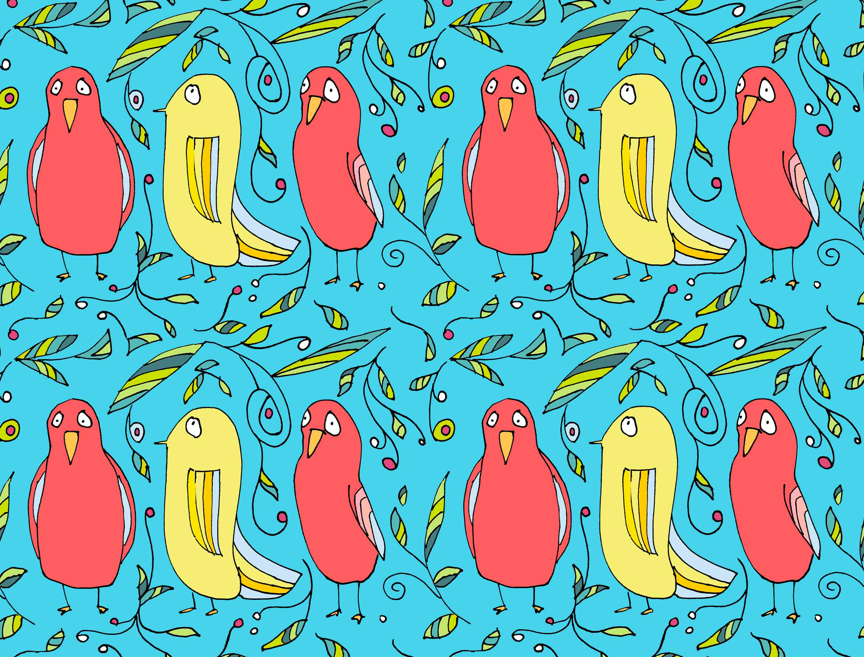 art every day number 122 drawing illustration pattern red birds yellow
