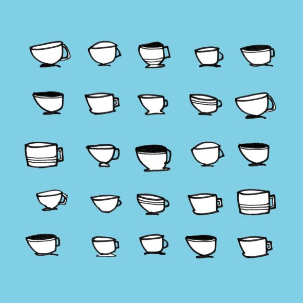 art very day number 128 25 cups illustration drawing coffee