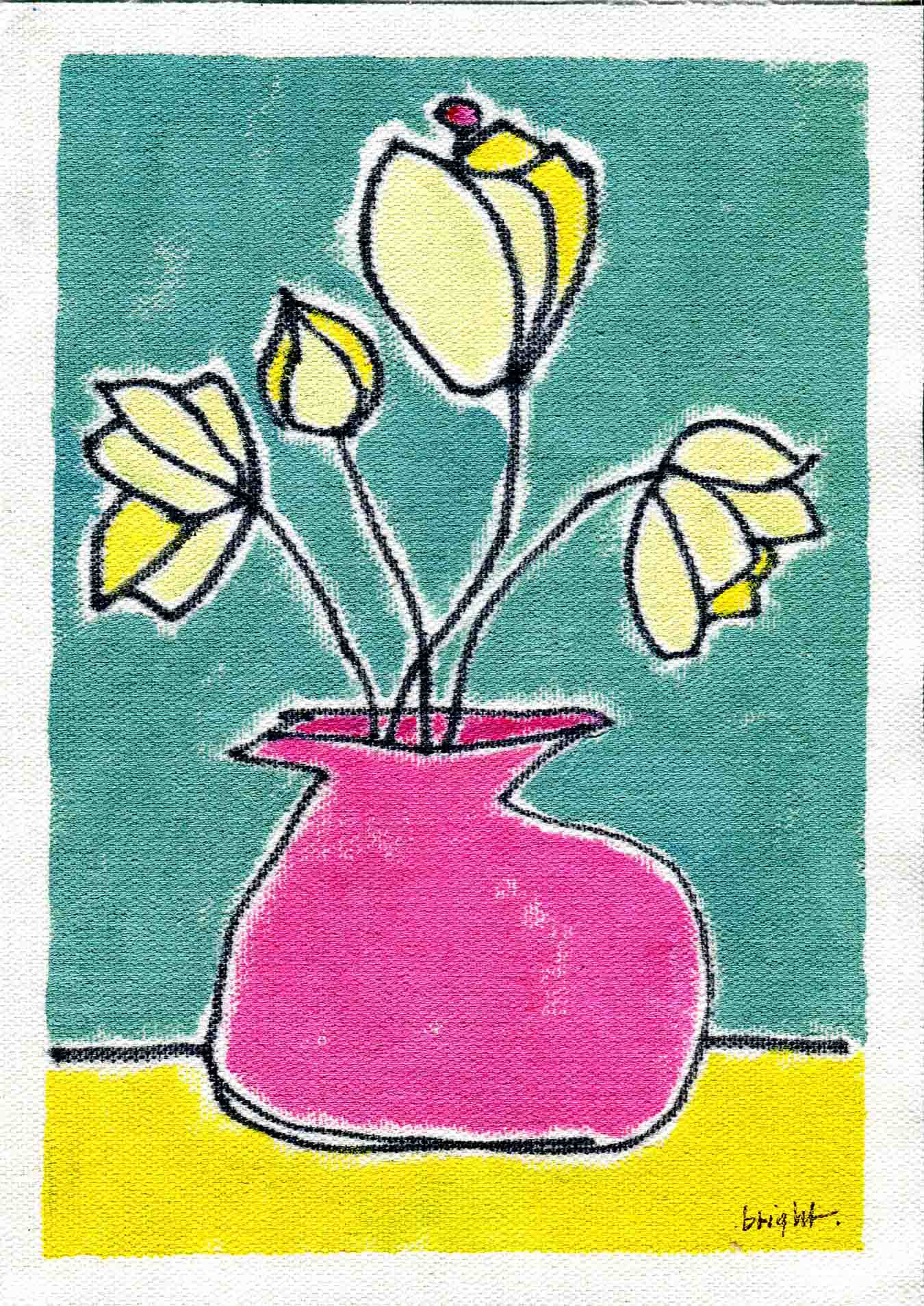 art every day number 137 yellow pink blue flowers in vase colour video