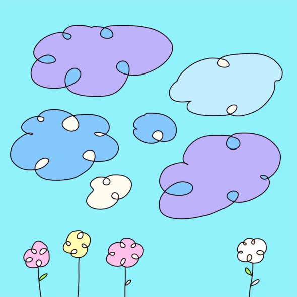 art every day number 145 drawing digital purple clouds