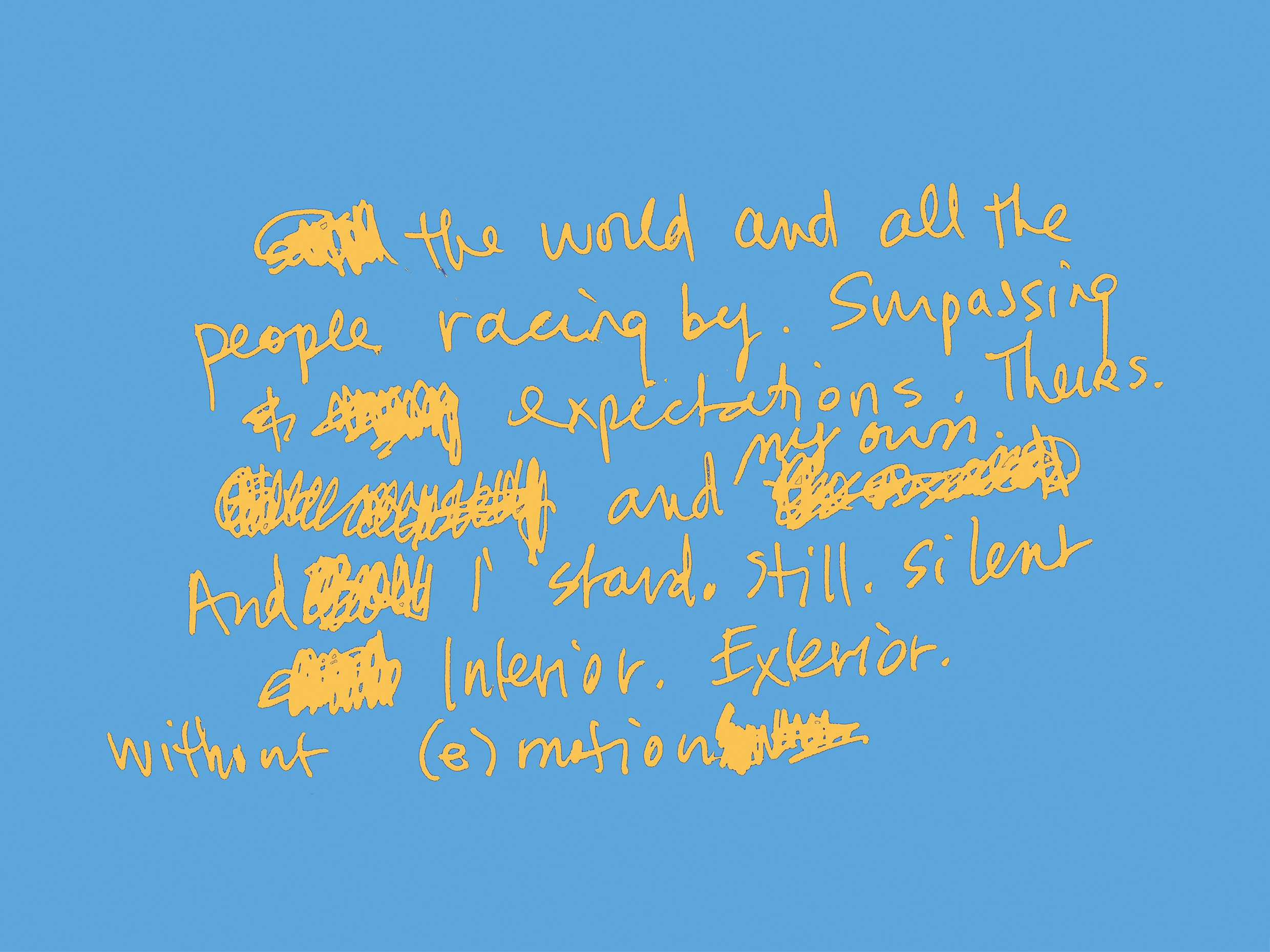 art every day number 160 the world and all the people words handwritten