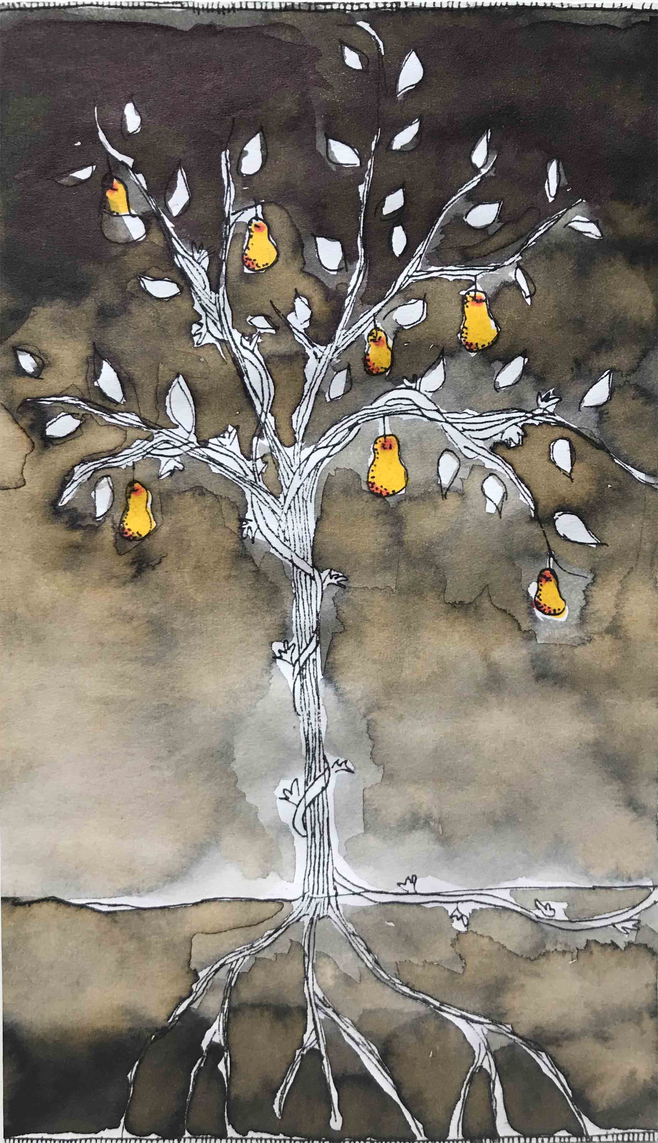 art every day number 192 ink wash pear tree