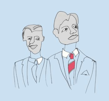 art every day number 195 white shirts men in suites illustration