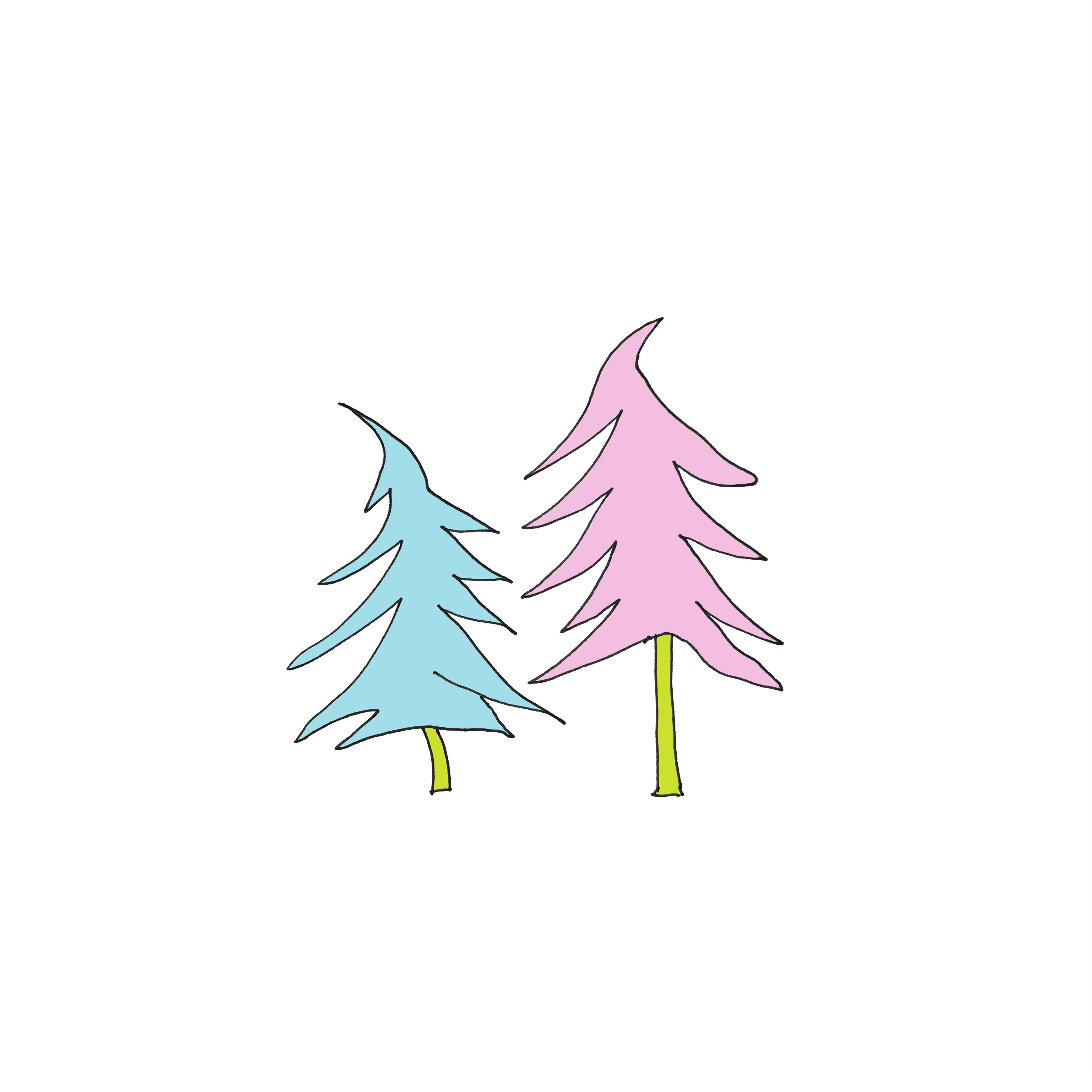 art every day number 196 two trees on snow illustration pink blue green